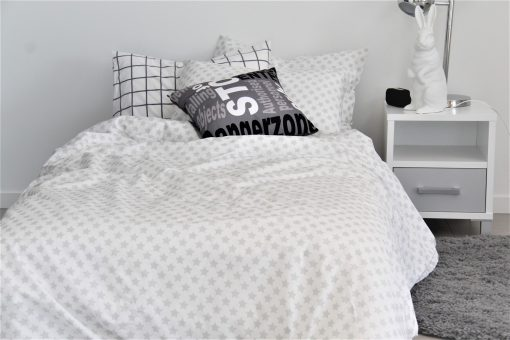 white & grey star duvet cover for boys and girls