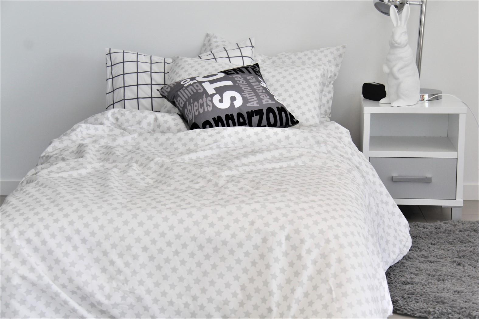 white & grey star duvet cover for boys and girls