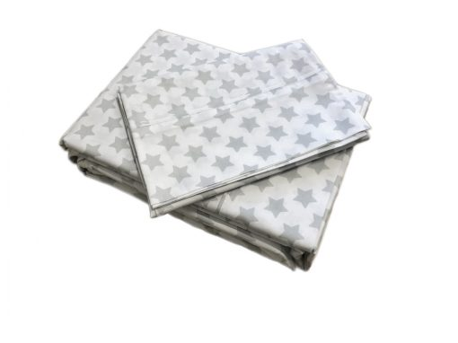 silver star and white duvet cover and sheet set