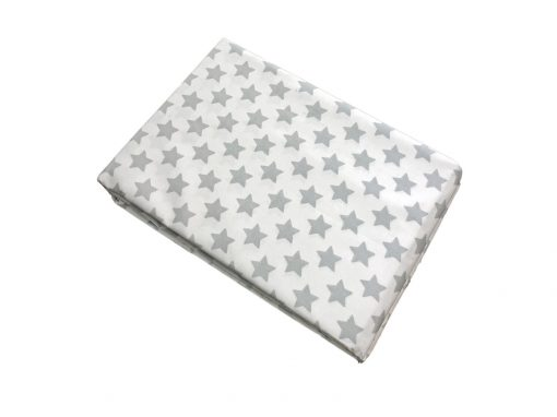 Silver grey star and white fitted sheet