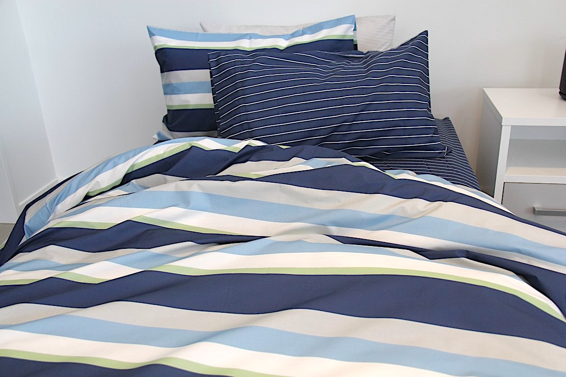Navy and white sheeting and pillowcase with Monty stripe boys duvet cover