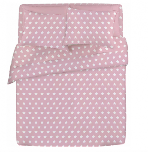 Rosa pink and white star girls sheet set and duvet