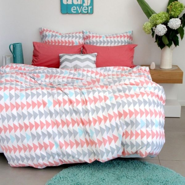 Evie girls silver grey, dusky pink and aqua duvet cover