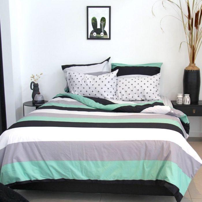 Henry boys green, grey, black and white striped duvet cover