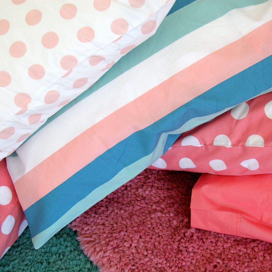 blush spot & stripe bedding
